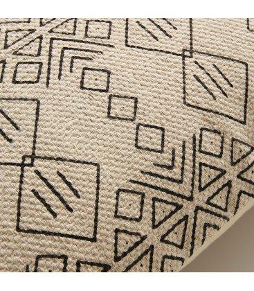 Funda de cojín de algodón natural y negro con flecos NAZCA 45x45cm