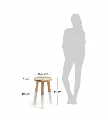 Taburete de madera maciza con patas blancas BY