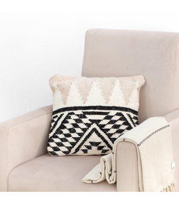 Funda de cojín cuadrado negro, rosa palo y beige PAULA n02 45x45cm