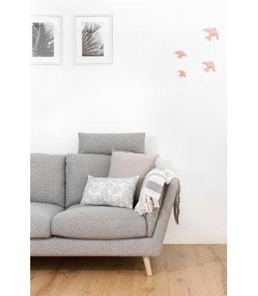Cojín rectangular blanco con hojas grises FERN 30x50cm