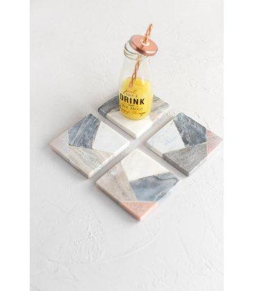 Set de 4 posavasos cuadrados de mármol tipo patchwork MARBLE 10x10cm