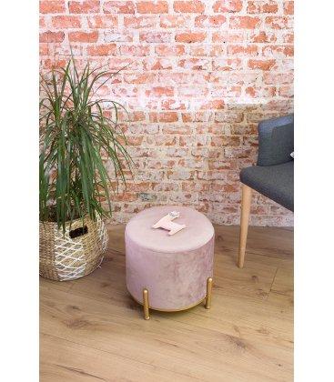 Taburete metal dorado y asiento terciopelo rosa lila WILLY