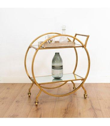 Camarera con estructura dorada y estantes de espejo PHIL