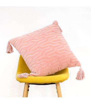 Funda de cojín cuadrado de terciopelo rosa palo GINNA n02 45x45cm