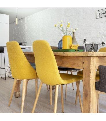 Silla de comedor tapizada en amarillo mostaza NILSON  (2 unidades)