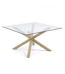 """Mesa de comedor cuadrada """"AIRE"""". Patas metálicas de efecto madera y sobre de vidrio"""