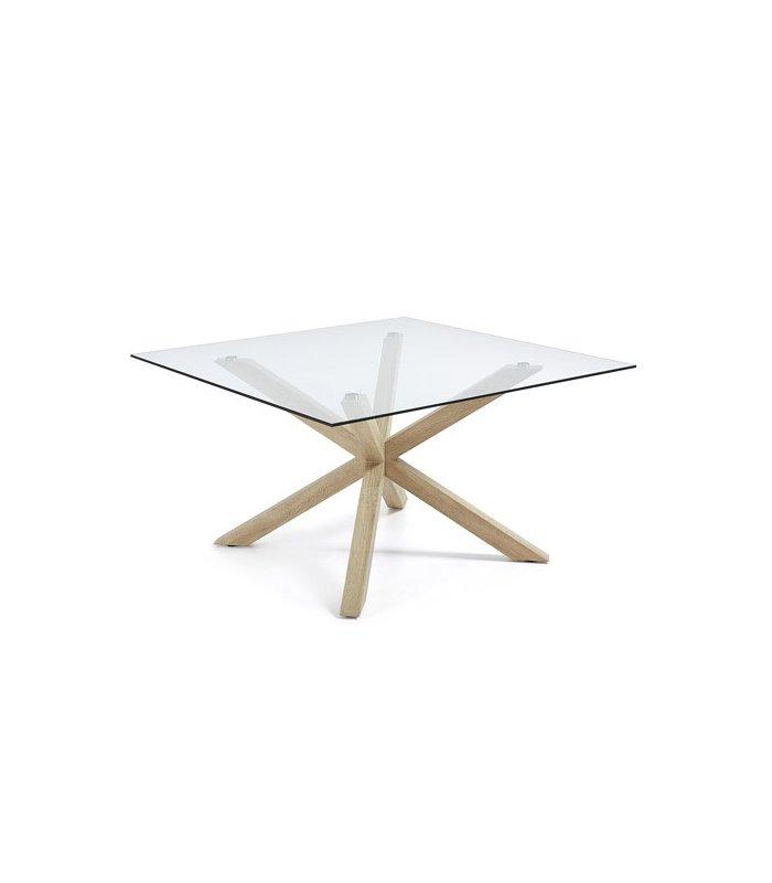 Mesa de comedor cuadrada aire con patas de madera y sobre for Mesa de comedor cristal y madera