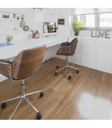 Silla de escritorio con ruedas regulable en altura negro y madera WORK