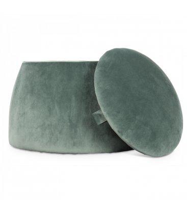 Puff con almacenaje terciopelo verde MIDO