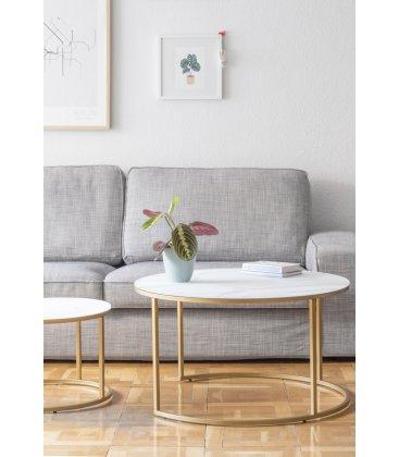 Juego de 2 mesas de centro nido estructura dorada y vidrio templado MARMOL