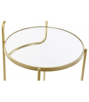 Camarera con estructura dorada y estantes de espejo JOE