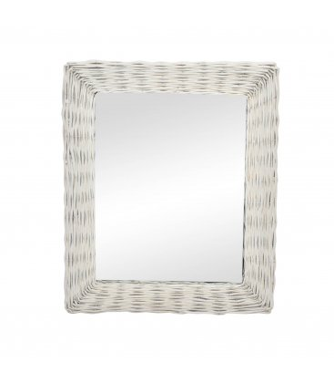 Espejo rectangular de mimbre blanco BLANCHE