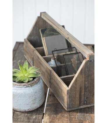 Organizador de madera antigua alargado tipo cesta con 5 compartimentos BRICK