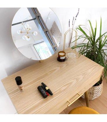 Tocador de madera de fresno con 1 cajón y espejo circular BOREAL