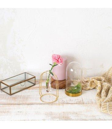 Jarrón de vidrio tipo tubo con soporte dorado (2 tamaños)