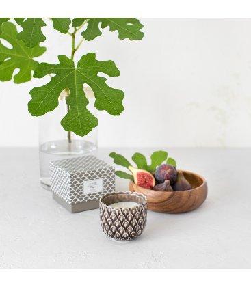 Vela aromática de higo en vaso cerámico pequeño