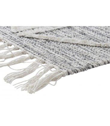 Alfombra rectangular de algodón en color gris con triángulos blancos 120x190cm