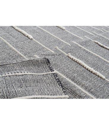 Alfombra rectangular de algodón en color gris con trenzado blanco 120x180cm