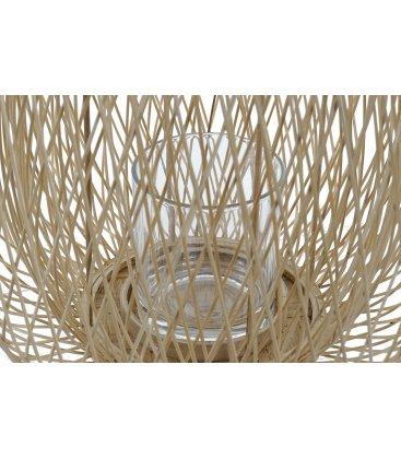 Farol portavelas alto con asa de bambú