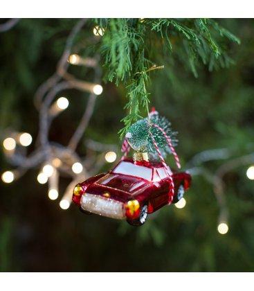 Adorno colgante de Navidad coche rojo con árbol