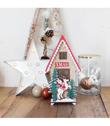 Figura Navidad casita madera con Papá Noel y reno con luz LED