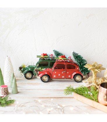 Figura Navidad coche rojo para colgar o apoyar con árbol y regalos