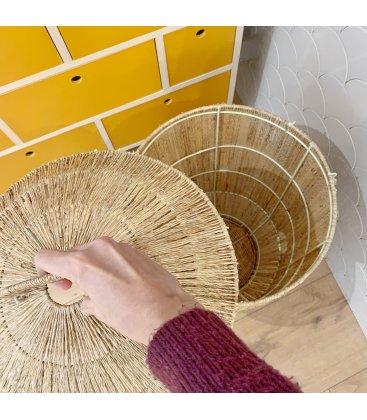 Cesta de yute natural con tapa RENJO (2 tamaños)