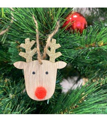 Set de 8 adornos para árbol de Navidad cara de reno