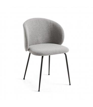 Pack de 2 sillas tapizadas en gris claro y patas negras LIZA