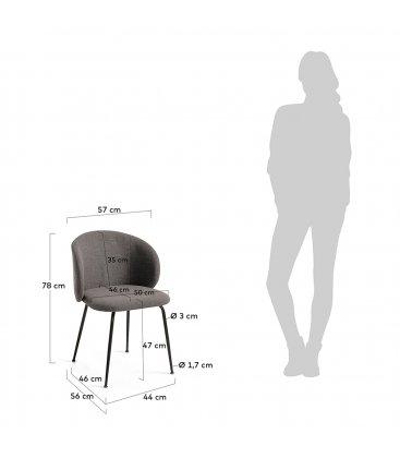 Pack de 2 sillas tapizadas en gris oscuro y patas negras LIZA