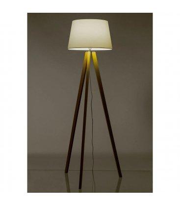 Lámpara de pie de madera y tulipa blanca GIZ