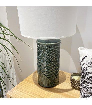 Lámpara de sobremesa de cerámica esmaltada verde y tulipa tela