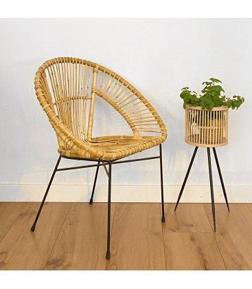 Pack de 2 sillas de ratán TAMARINDO en color natural con patas negras