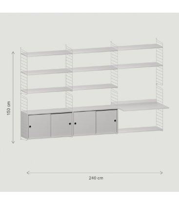 Estantería STRING suspendida con 3 módulos y 2 cabinets en gris.
