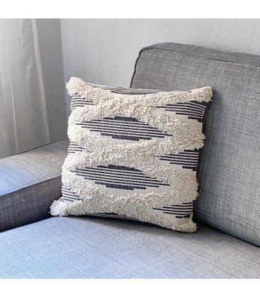 Cojín cuadrado con flecos de algodón blanco roto y gris PISCO 45x45cm