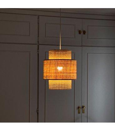 Pantalla lámpara de techo mediana de rejilla natural AUSTRAL