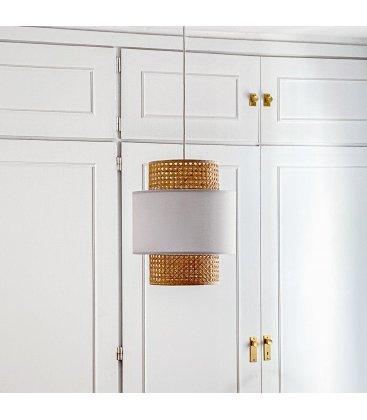 Pantalla lámpara de techo mediana de rejilla natural y tela blanca AUSTRAL