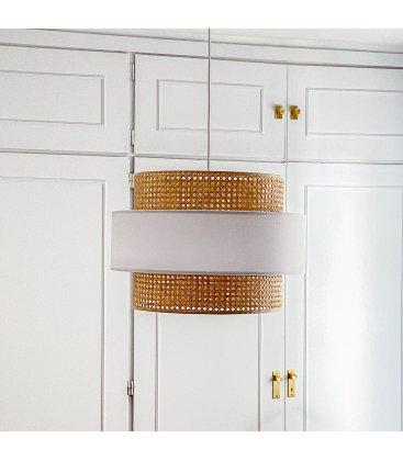 Pantalla lámpara de techo grande de rejilla natural y tela blanca AUSTRAL