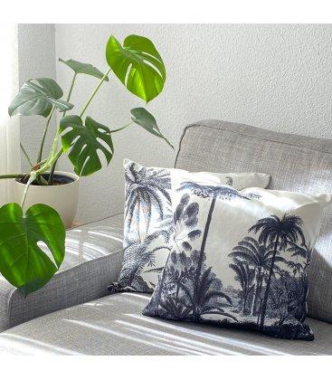 Cojín cuadrado estampado selva blanco y gris AKELA N04 45x45cm
