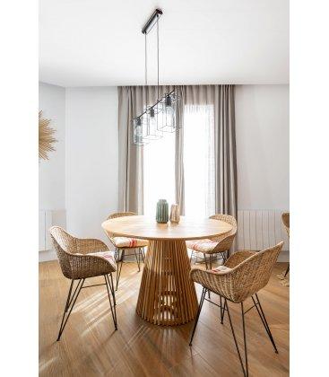 Mesa de comedor redonda de madera maciza de teca RUNA