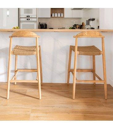 Taburete de madera de eucalipto con asiento de cuerda trenzada LINI 62 cm