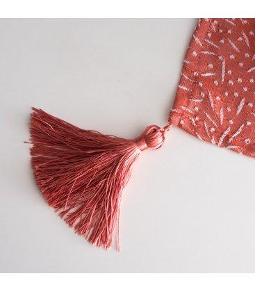 Camino de mesa rojo coral con bordado blanco FIREWORKS 50x150cm