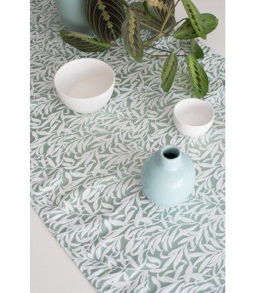 Camino de mesa verde con bordado blanco BRANCHE 50x150cm