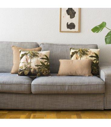 Cojín cuadrado de estampado tropical verde y beige MADY 45x45cm