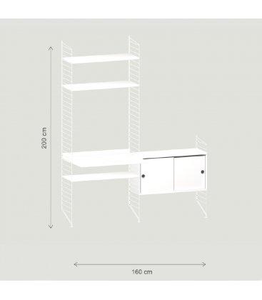 Estantería STRING de 2 módulos con 1 escritorio y 1 cabinet en blanco.