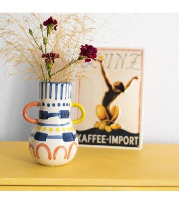 Jarrón cerámico esmaltado blanco, azul, amarillo y naranja con 2 asas MARRAKECH