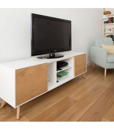 Mueble TV con patas NORWAY 160cm con 1 puerta, 2 cajones y 3 huecos (varios acabados)