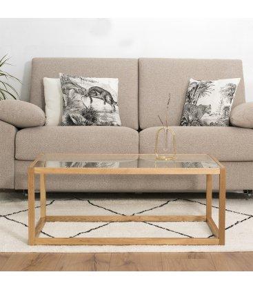 Mesa de centro de madera y vidrio templado BOREAL