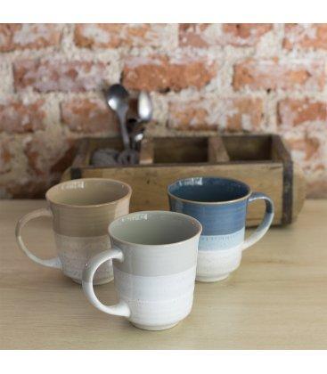 Taza tipo mug de gres esmaltado con textura y degradado (3 colores).