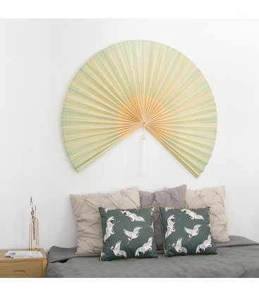 Abanico de pared de bambú color natural y verde SENSU